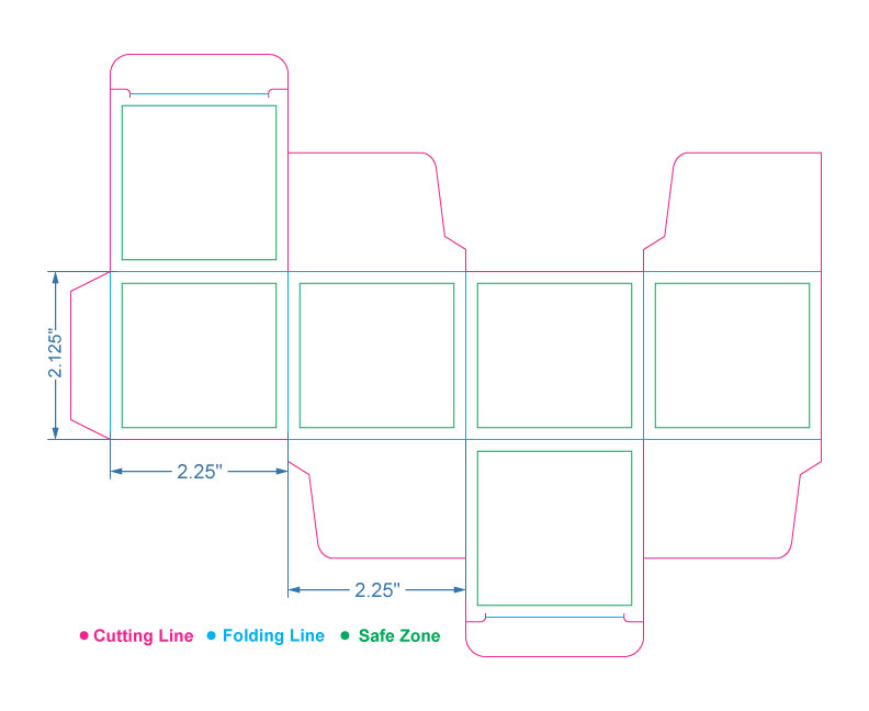2.125 x 2.25 x 2.25 inches Candle Jar Box Template