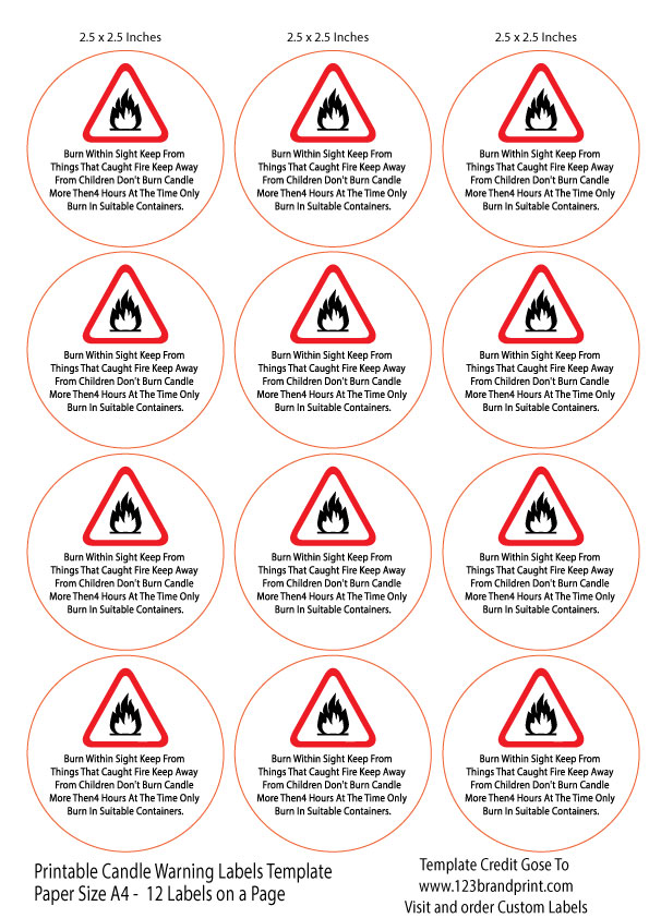 2.5×2.5 inches Candle Warning Round Labels Template