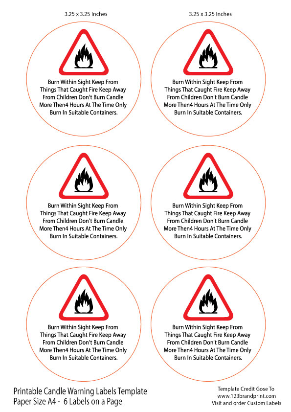 3.25×3.25 inches Candle Warning Round Labels Template