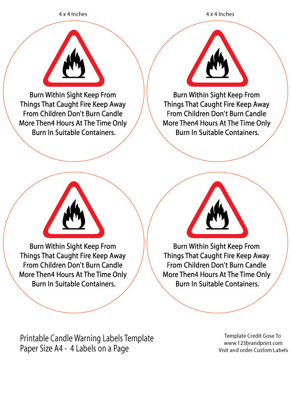 4×4 inches Candle Warning Round Labels Template