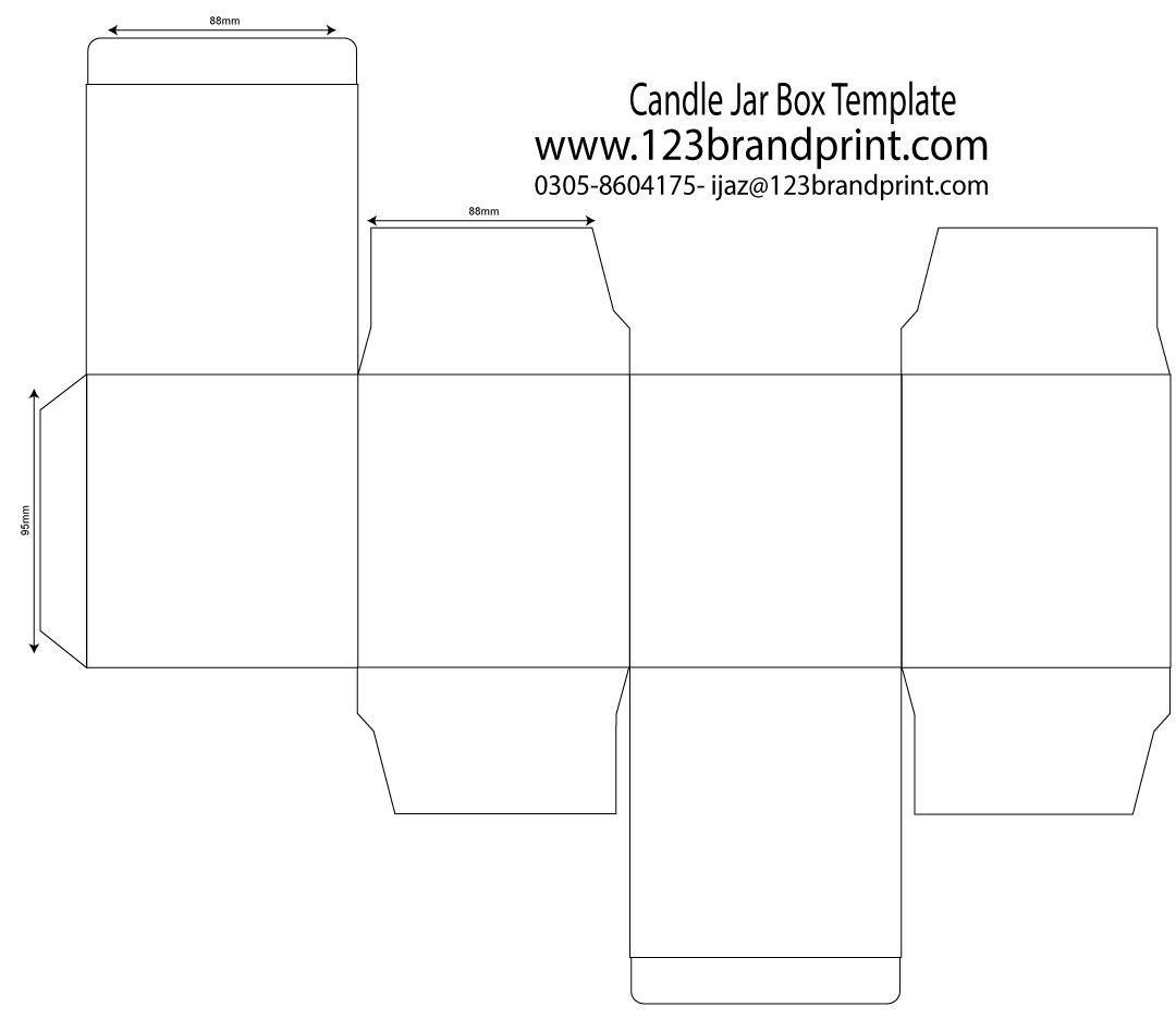 88x88x95mm candle box template with e-flute insert