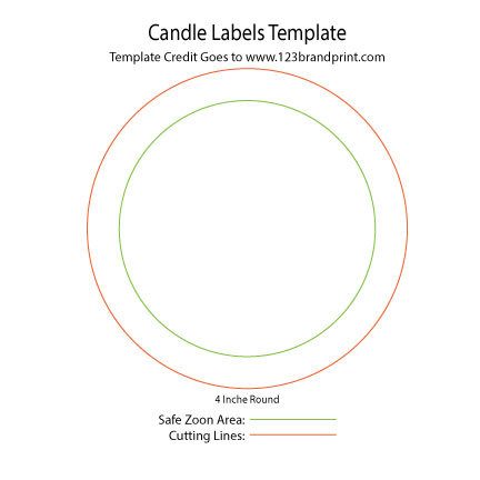 4×4 inches Round Candle Labels Templates