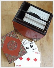 Vintage Japanese Wooden Playing Card