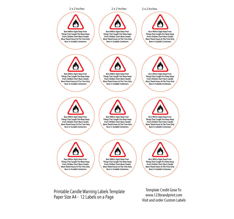 2x2 inches Candle Warning Round Labels Template