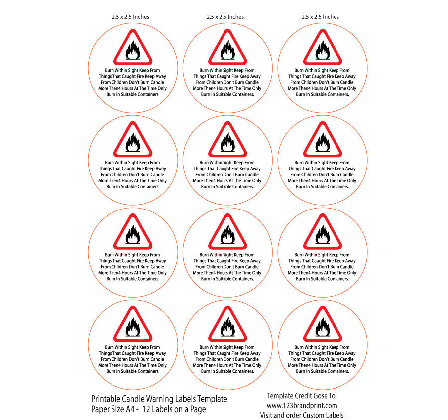 2.5x2.5 inches Candle Warning Round Labels Template