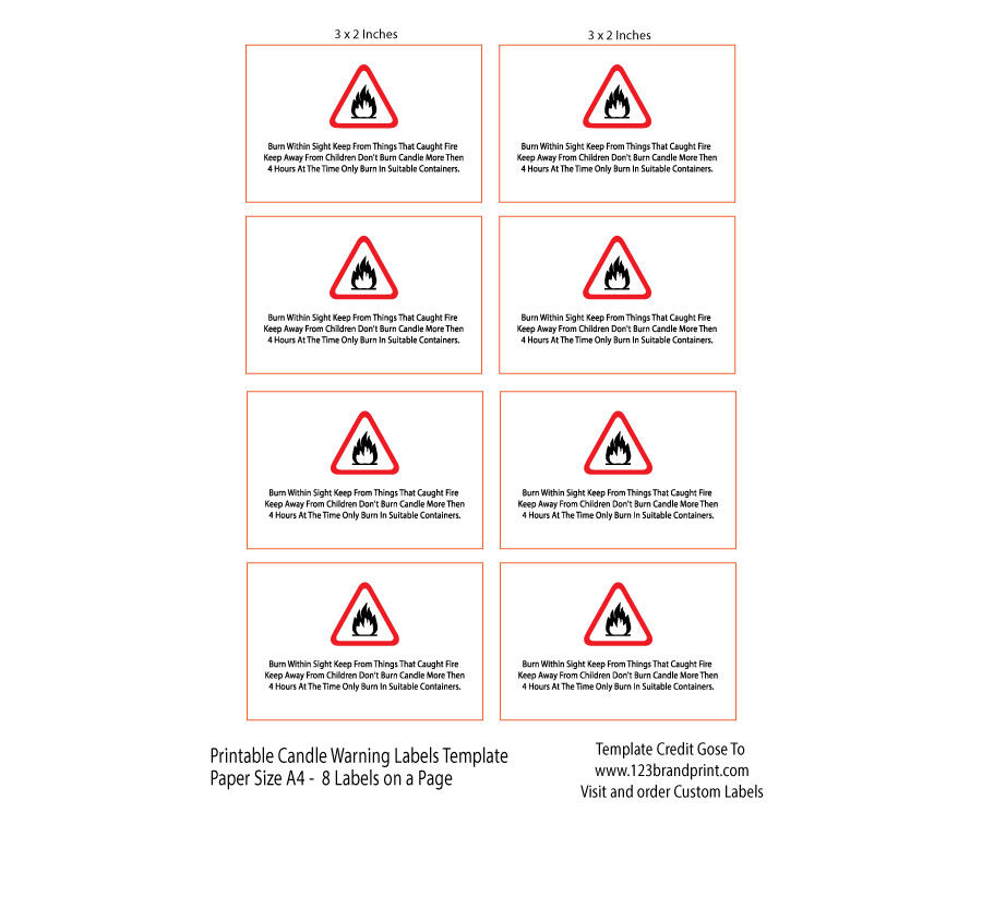 3 x 2 inches Rectangular candle warning labels