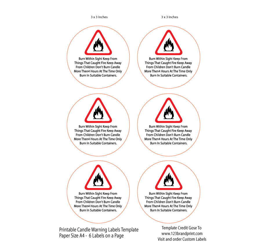 3x3 inches Candle Warning Round Labels Template
