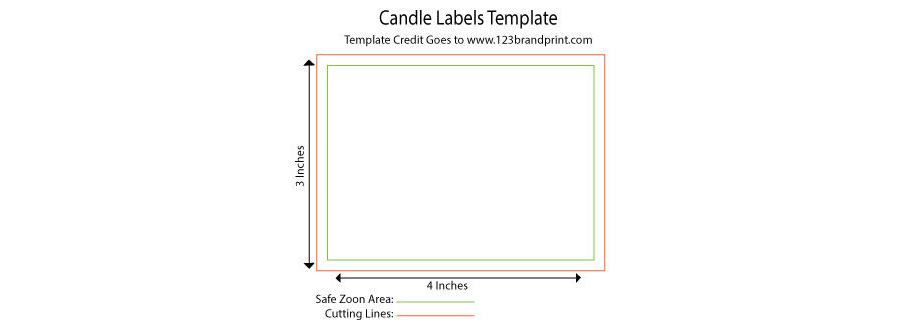 4 x 3 inches rectangular candle label templates