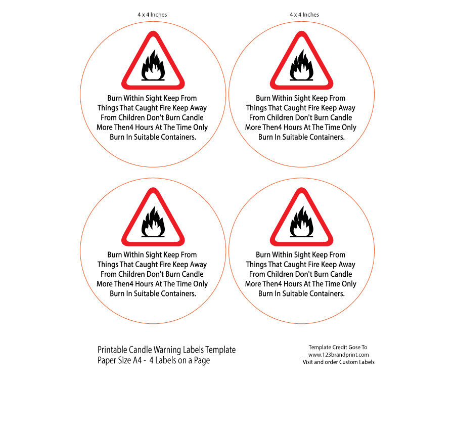 4x4 inches Candle Warning Round Labels Template