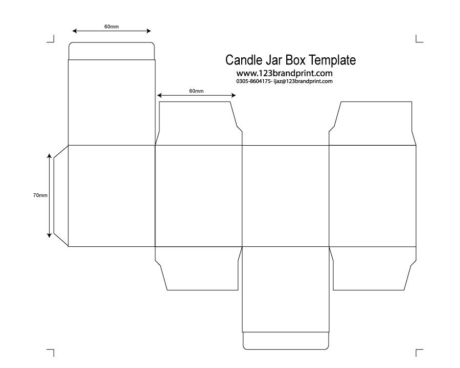 60x60x70mm with e-flute insert candle box template