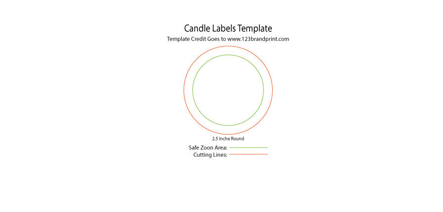 2.5x2.5 inches Round Candle Labels Templates