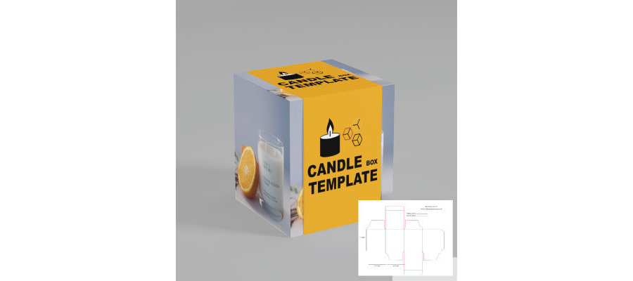 82 x 82 x 92mm candle box die lines template